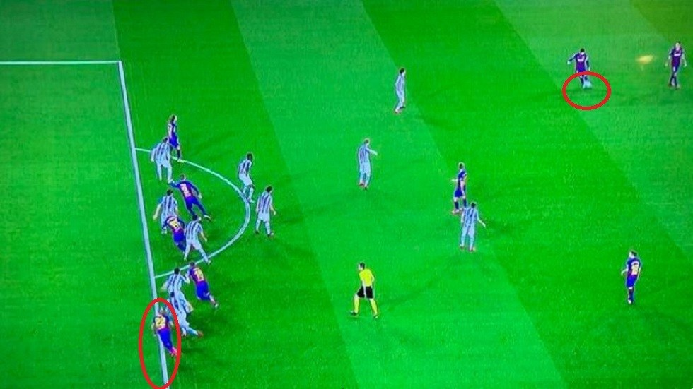 What does the football law say in the penalty kick awarded to Barcelona in the Sociedad match?