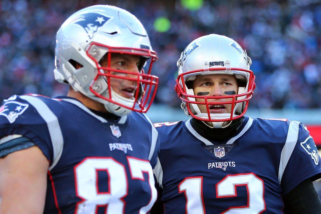 Tom Brady and Rob Gronkowski on the field in Foxboro, Massachusetts. (Adam Glanzman/Getty)